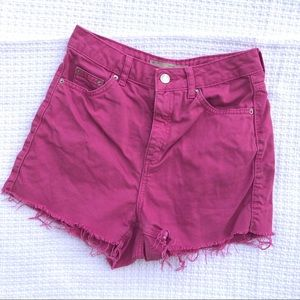 Topshop Moto Pink Frayed High Waisted Mom Shorts